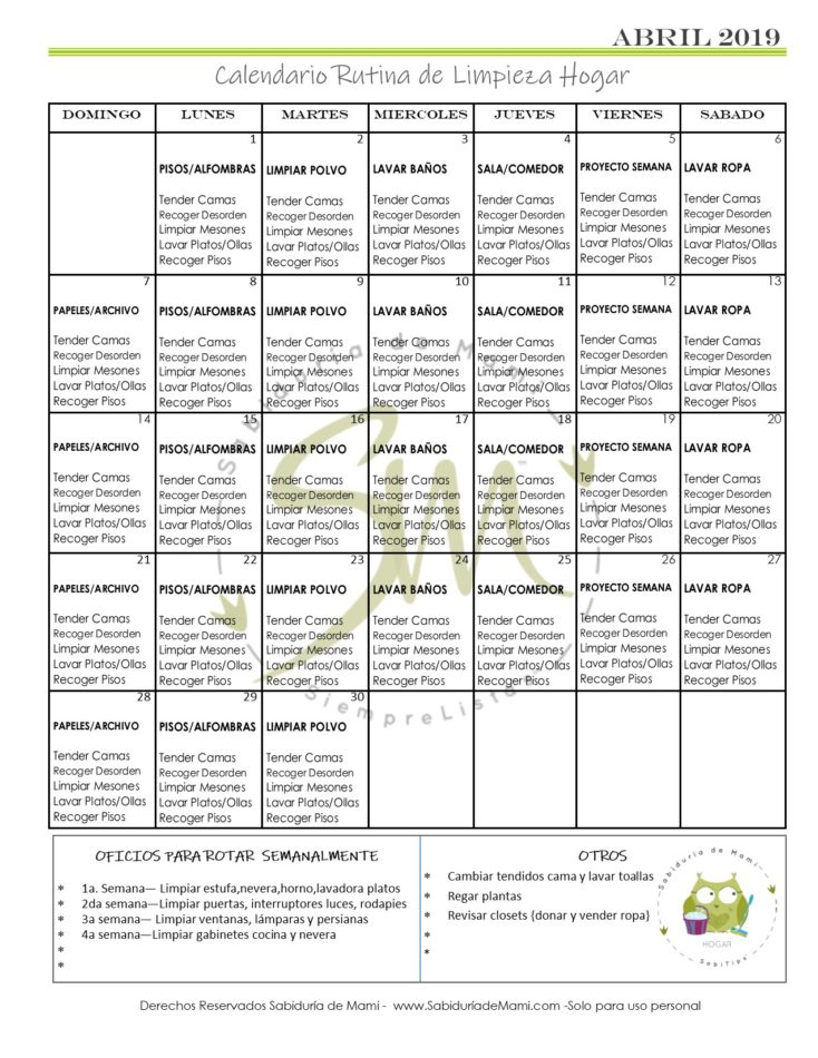 Calendario Rutina De Limpieza Semanal Lista Imprimible Gratis
